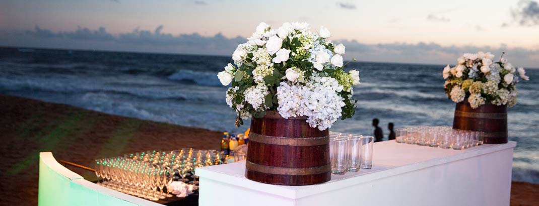 Flower Arrangement by the Beach at Mount Lavinia Hotel